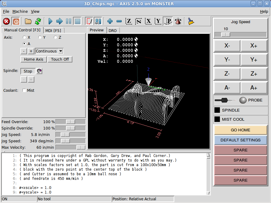 MONSTER - A learning experience    pyVCP machine - LinuxCNC